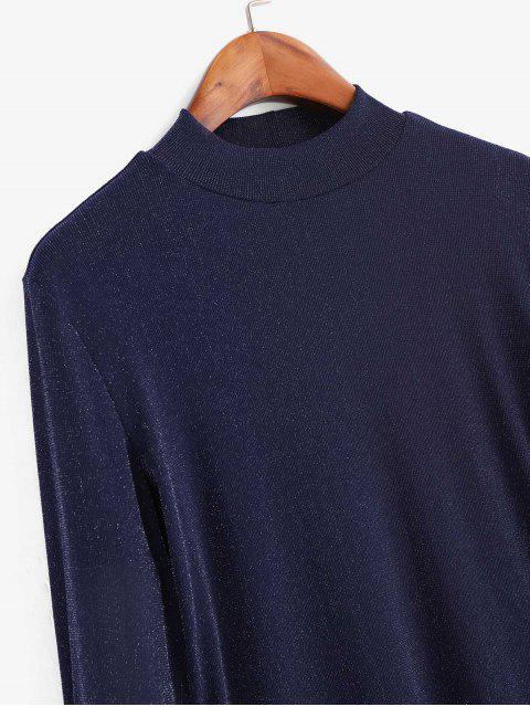 lady Metallic Thread Mesh High Neck Long Sleeve Tee - NAVY BLUE XL Mobile