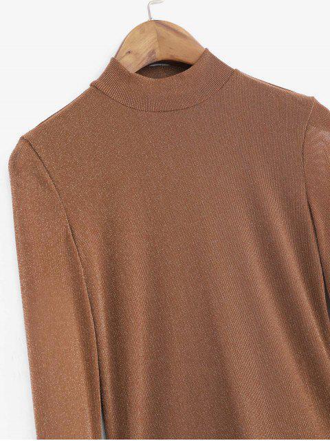 trendy Metallic Thread Mesh High Neck Long Sleeve Tee - BROWN L Mobile