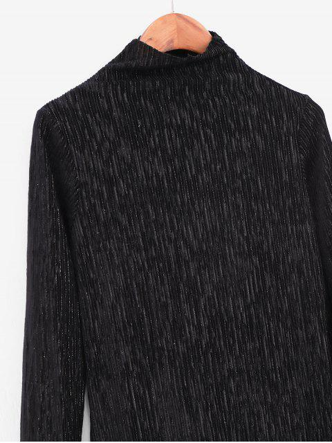 hot Metallic Thread Pleated Raw Cut Long Sleeve Tee - BLACK XL Mobile