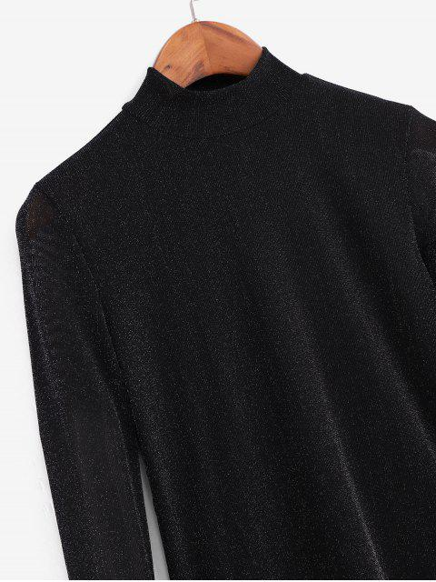 hot Metallic Thread Mesh High Neck Long Sleeve Tee - BLACK 2XL Mobile