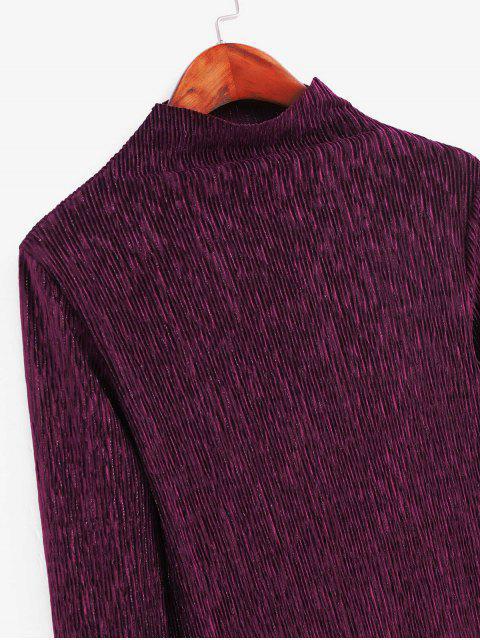 fashion Metallic Thread Pleated Raw Cut Long Sleeve Tee - FIREBRICK 2XL Mobile