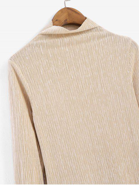 online Metallic Thread Pleated Raw Cut Long Sleeve Tee - APRICOT L Mobile