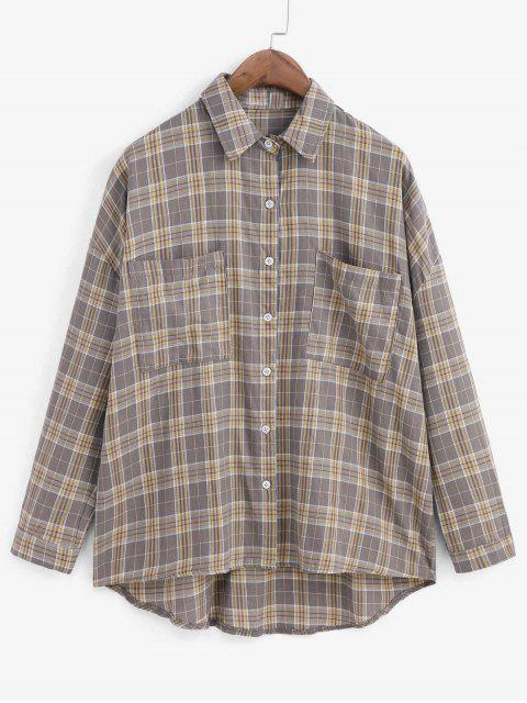 trendy Plaid Drop Shoulder Pocket Longline Shirt - DARK GRAY ONE SIZE Mobile