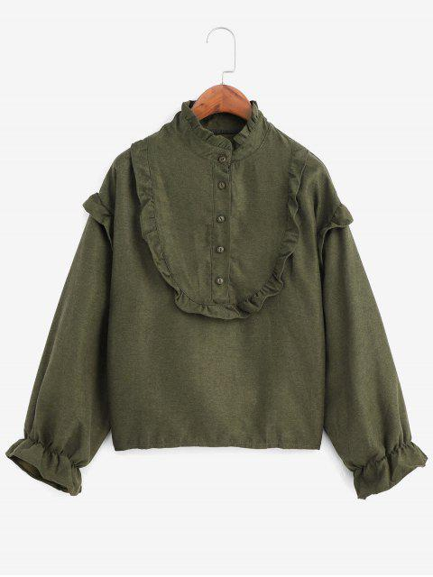 trendy Ruffle Neck Poet Sleeve Half Button Blouse - ARMY GREEN ONE SIZE Mobile