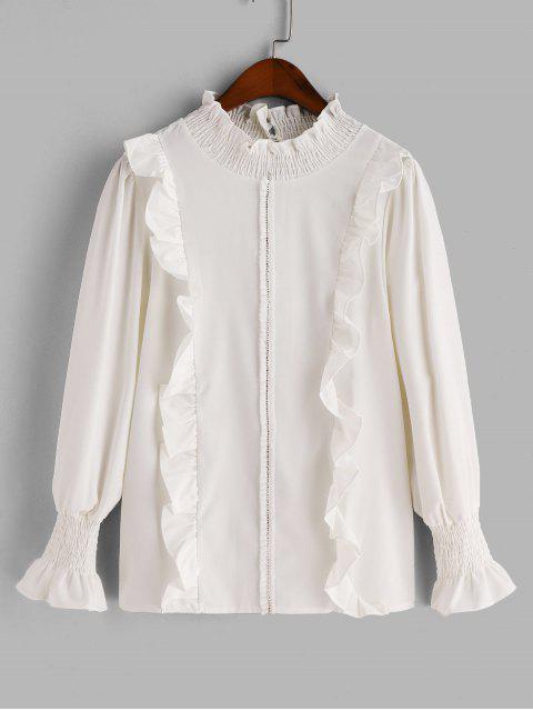 online Shirred Rhinestone Ruffle Blouse - WHITE M Mobile