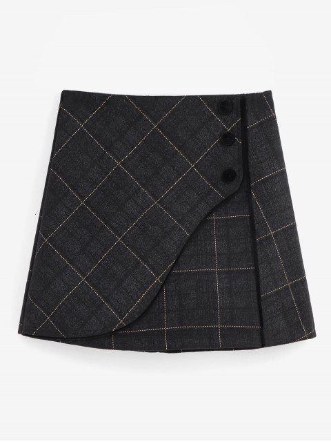 shop Grid Foldover Wool Blend Skirt - BLACK M Mobile