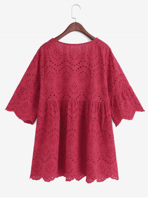 online Eyelet Flare Sleeve Scalloped Longline Blouse - RED M Mobile