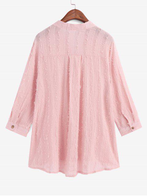 latest Frayed Detail Pocket High Low Longline Shirt - PINK XL Mobile