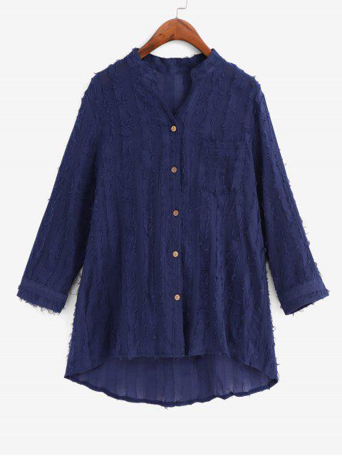 chic Frayed Detail Pocket High Low Longline Shirt - MIDNIGHT BLUE L Mobile