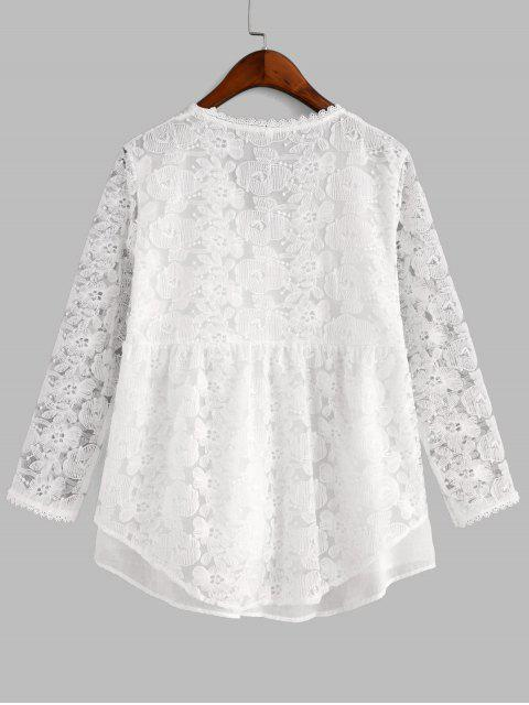 women's Floral Embroidered Button Up Longline Blouse - WHITE L Mobile