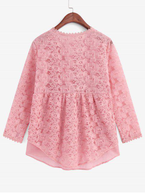 hot Floral Embroidered Button Up Longline Blouse - ROSE 2XL Mobile