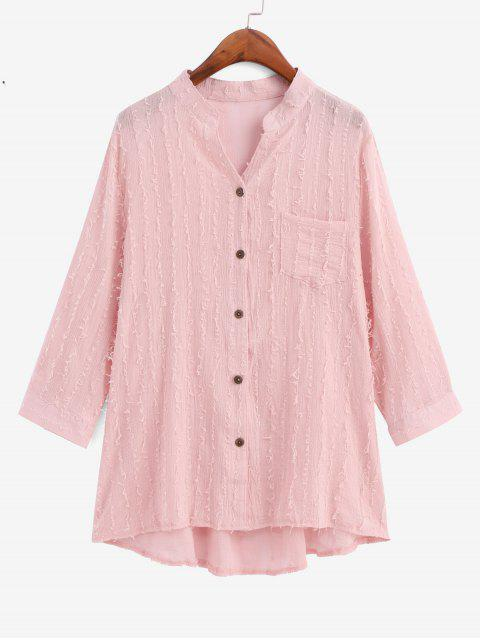 latest Frayed Detail Pocket High Low Longline Shirt - PINK L Mobile