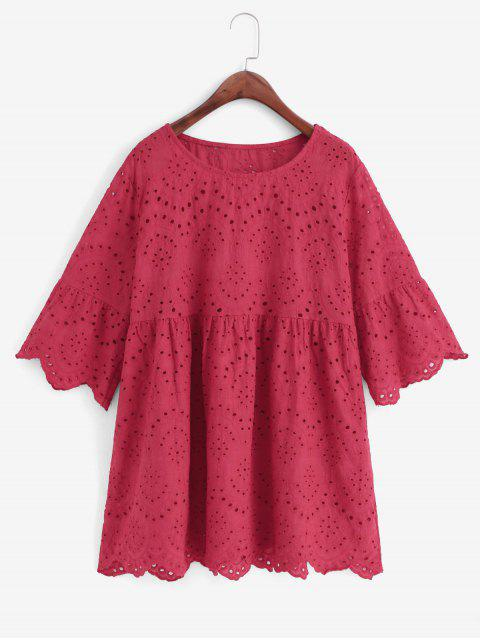 chic Eyelet Flare Sleeve Scalloped Longline Blouse - RED L Mobile