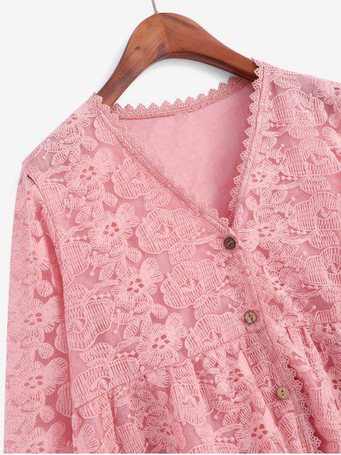unique Floral Embroidered Button Up Longline Blouse - ROSE M Mobile