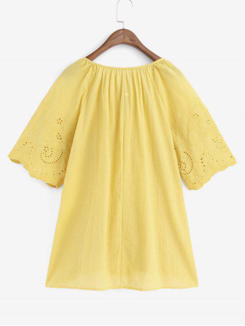 women Eyelet Flower Embroidered Raglan Sleeve Blouse - GOLDENROD 2XL Mobile