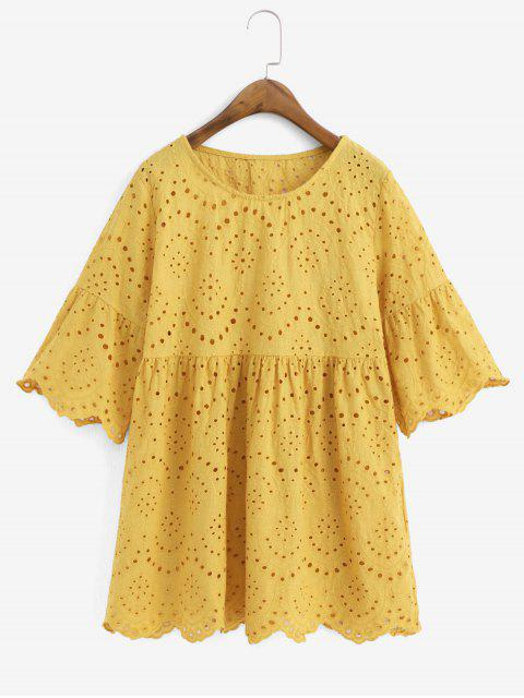 outfit Eyelet Flare Sleeve Scalloped Longline Blouse - GOLDEN BROWN M Mobile
