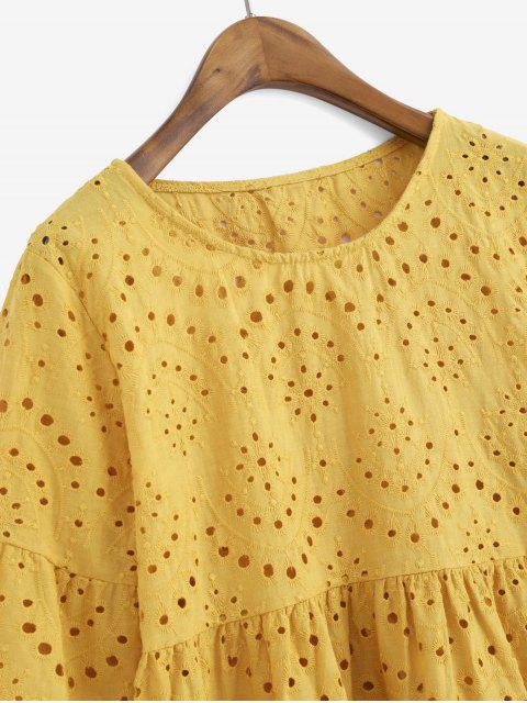 outfits Eyelet Flare Sleeve Scalloped Longline Blouse - GOLDEN BROWN L Mobile