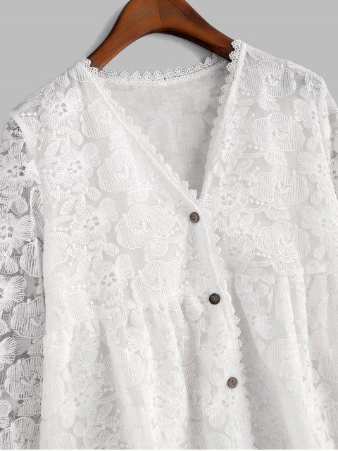 latest Floral Embroidered Button Up Longline Blouse - WHITE M Mobile