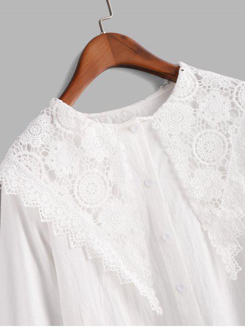women Button Down Lace Panel Scalloped Edge Shirt - WHITE M Mobile