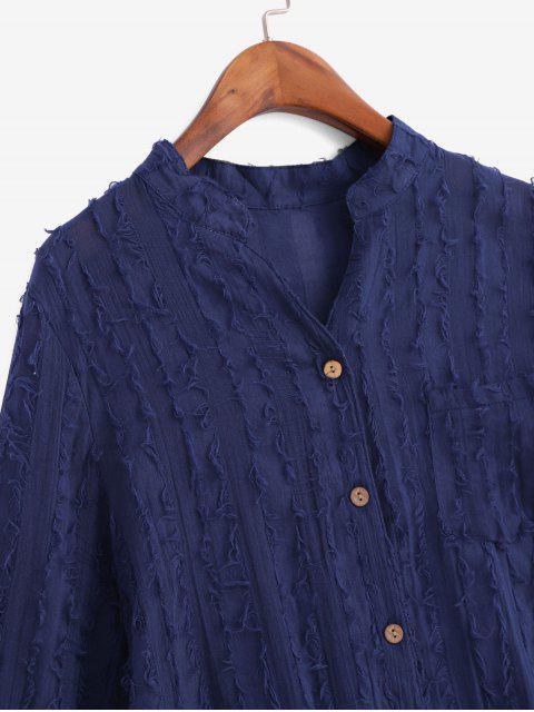 women's Frayed Detail Pocket High Low Longline Shirt - MIDNIGHT BLUE 2XL Mobile