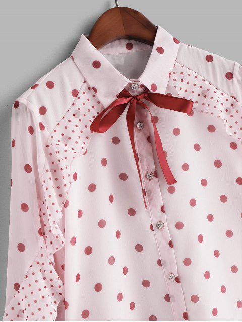 ladies Pussy Bow Ruffle Polka Dot Shirt - PINK L Mobile