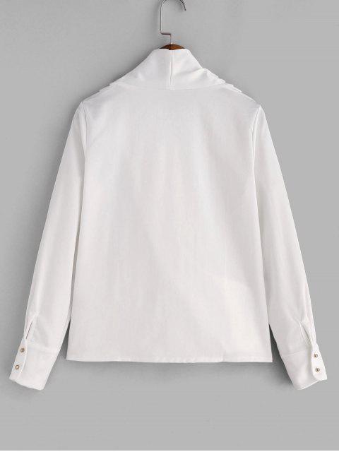 shop Shiny Draped Surplice Blouse - WHITE L Mobile