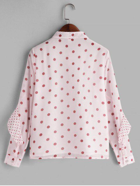 fashion Pussy Bow Ruffle Polka Dot Shirt - PINK 2XL Mobile