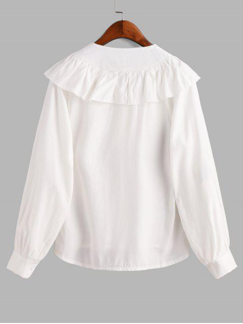 buy V Neck Button Up Ruffles Top - WHITE L Mobile