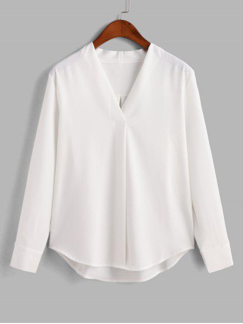 women Long Sleeve Work Blouse - WHITE S Mobile