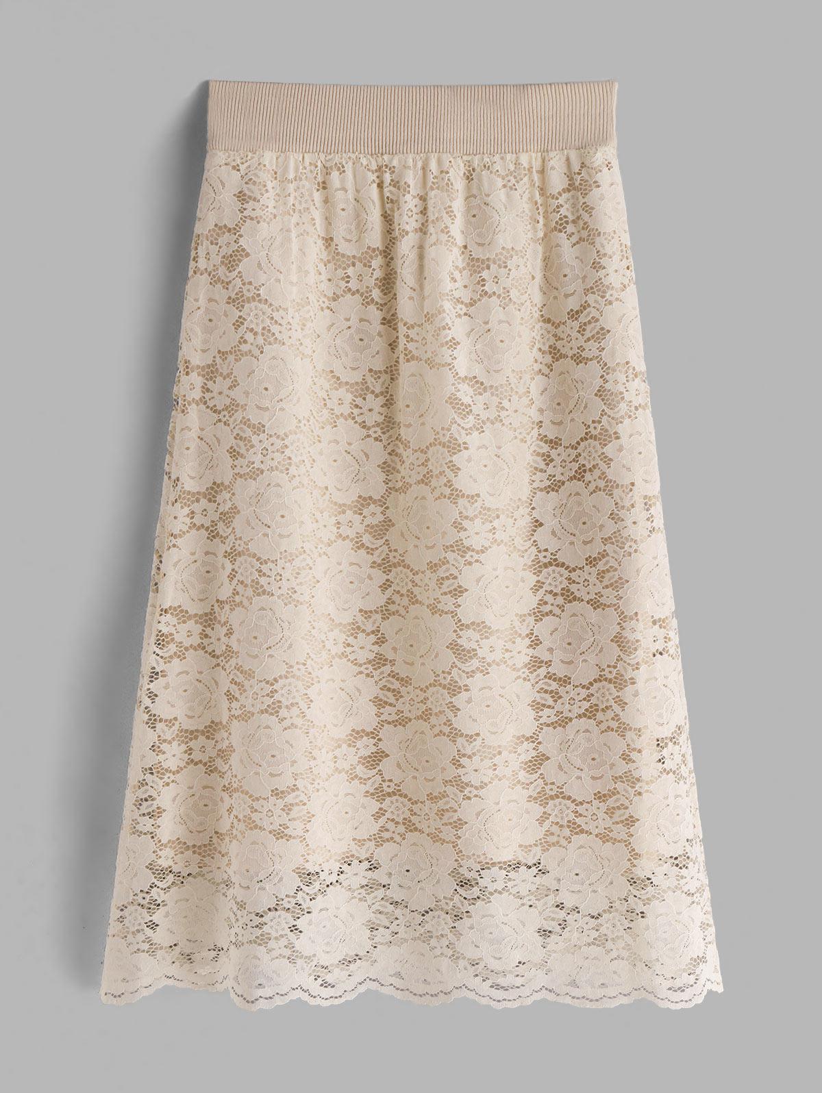 Flower Lace Elastic Waist Midi Skirt