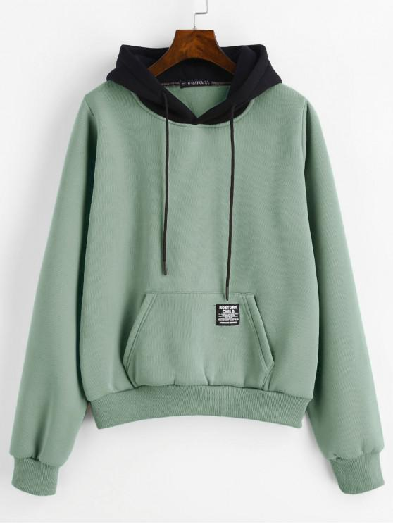 outfits ZAFUL Pouch Pocket Fleece Pullover Hoodie - CYAN OPAQUE L