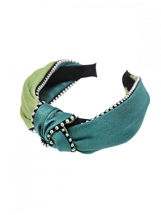 women Two Tone Knot Beads Hairband - DARK GREEN