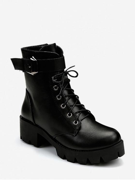 平原矮胖鞋跟系帶短靴 - 黑色 歐盟35