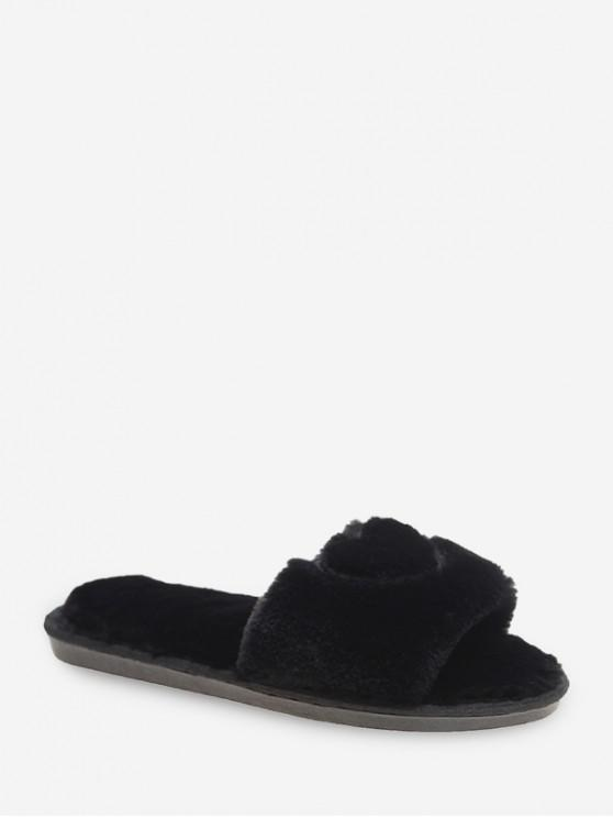 hot Heart Pattern Faux Fur Indoor Flats - BLACK EU 38