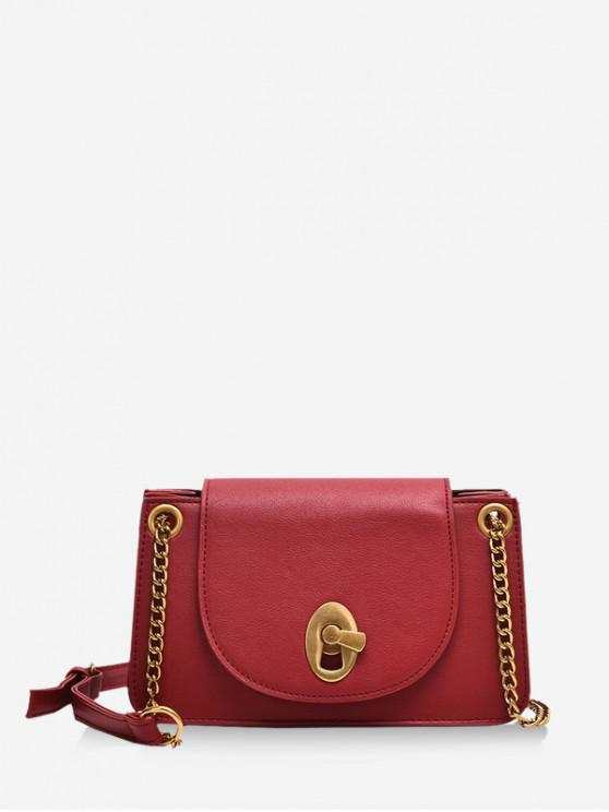 womens Metal Hasp Flap PU Leather Crossbody Bag - RED
