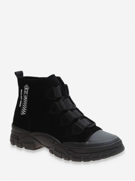 women Zip Pattern Outdoor Suede Boots - BLACK EU 36