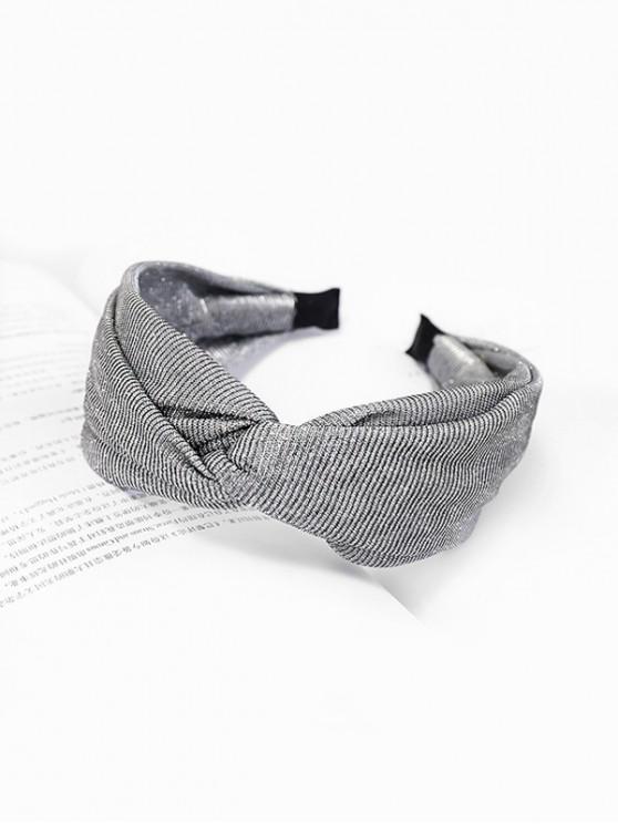 fashion Knot Wide Metallic Fabric Hairband - PLATINUM