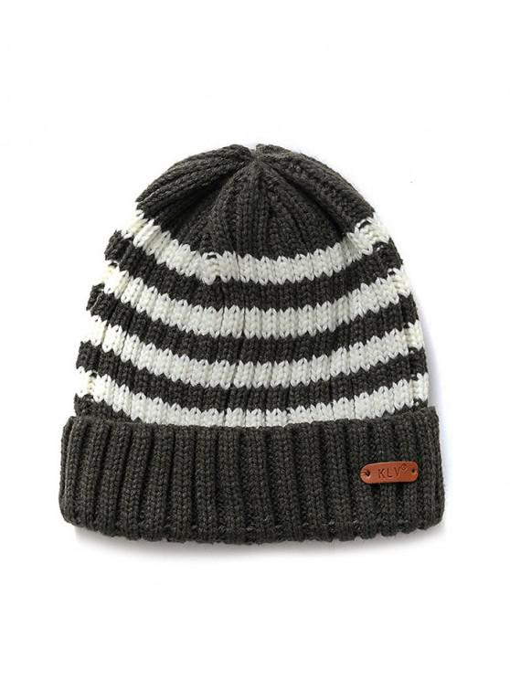womens Striped Outdoor Casual Woolen Winter Knitted Hat - DARK GRAY