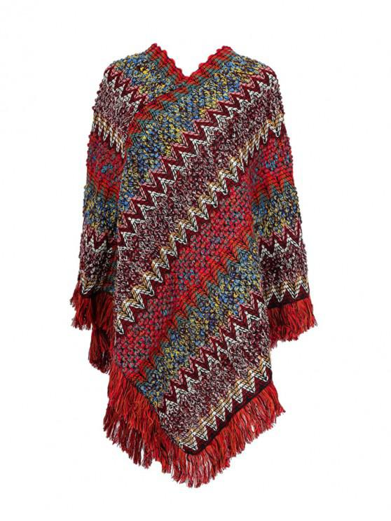 shop Striped Zigzag Knitted Fringe Long Shawl - RED