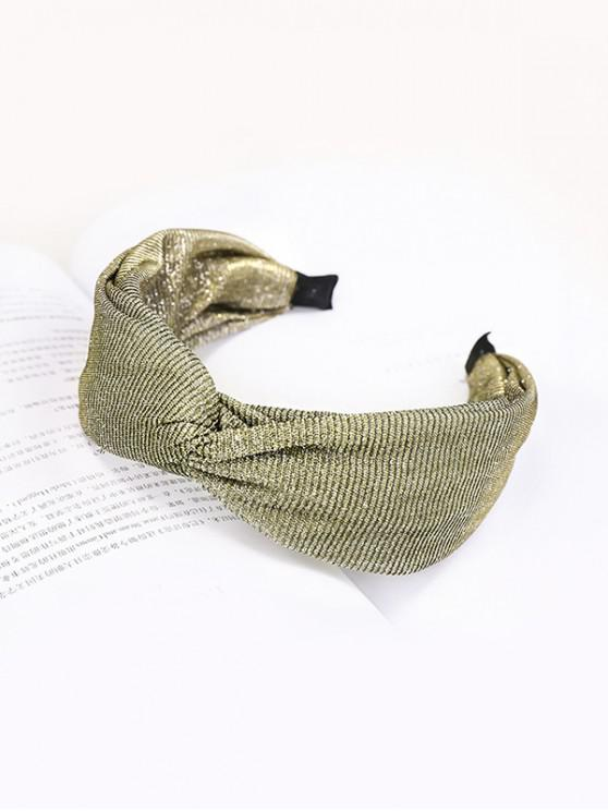 affordable Knot Wide Metallic Fabric Hairband - YELLOW