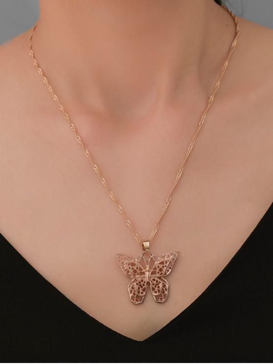 online Hollow Butterfly Pendant Sweater Chain - GOLD