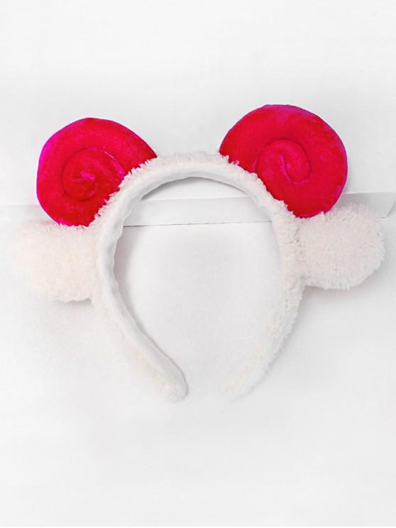 hot Cartoon Cosplay Sheep Horns Hairband - ROSE RED