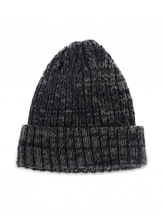 trendy Winter Knitted Simple Elastic Classic Hat - BLACK