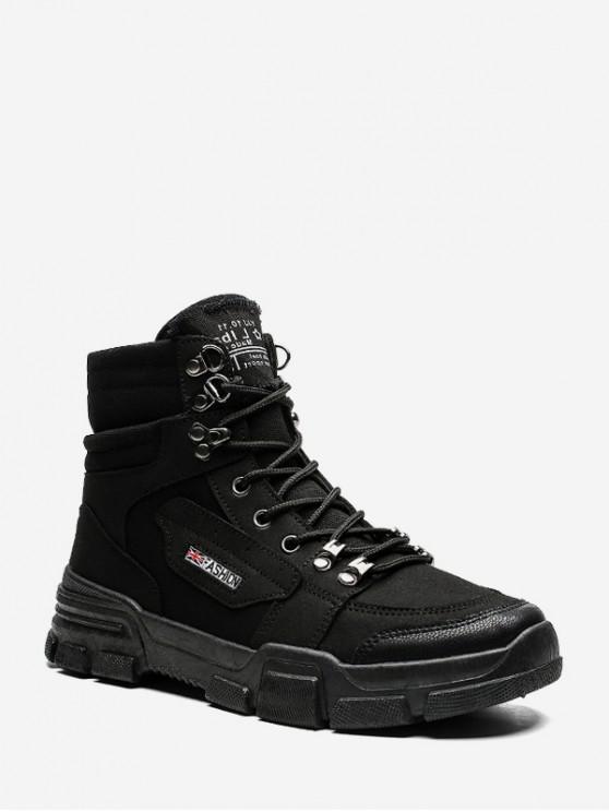 fancy Patch Cloth Cargo Ankle Boots - BLACK EU 39