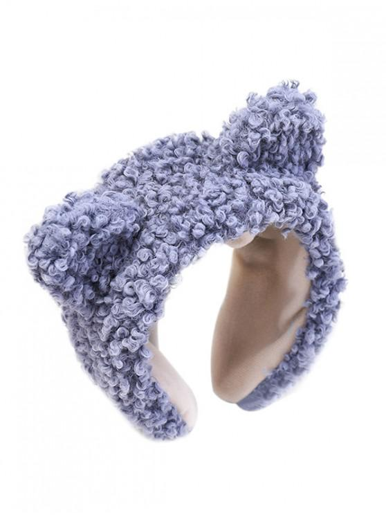 best Animal Ears Wide Faux Wool Hairband - SLATE BLUE