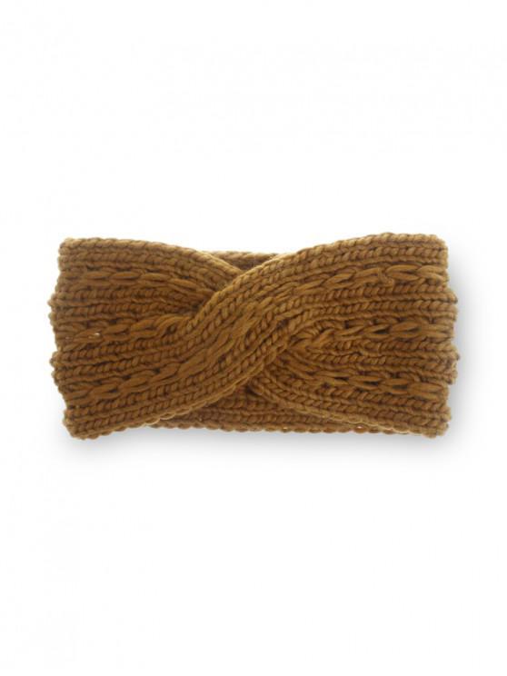 冬季十字蝴蝶結針織發帶 - 焦糖
