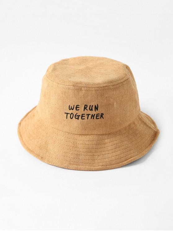new Chic Character Embroidered Bucket Hat - KHAKI