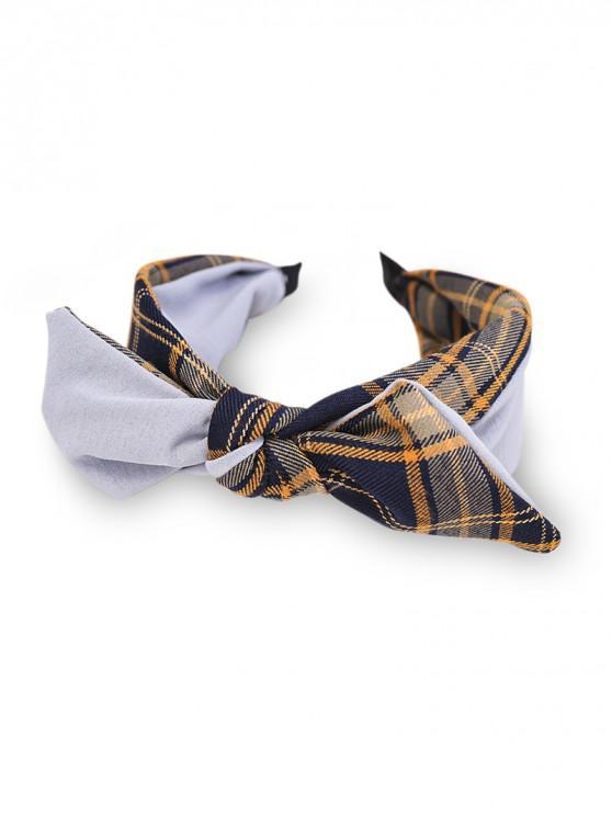 fashion Colorblock Plaid Fabric Bowknot Hairband - GRAY