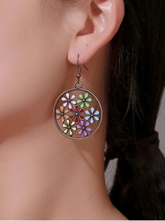 best Archaic Hollow Flower Round Earrings - ACU CAMOUFLAGE