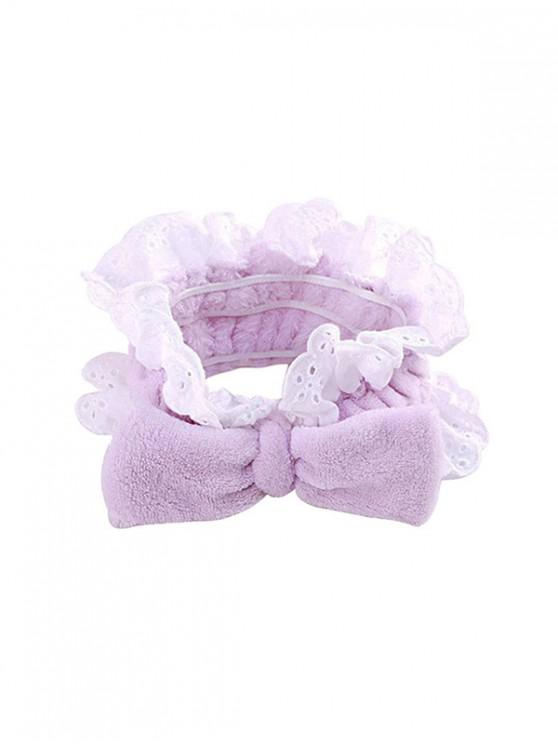 hot Bowknot Lace Elastic Washing Headband - MAUVE